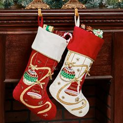 Elegant Ornament Christmas Stockings Off White Set of Two