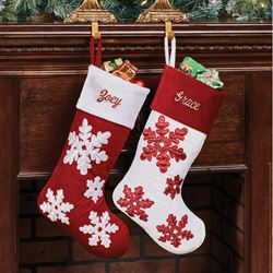 Shimmer Snowflake Christmas Stocking with White Cuff Dark Red