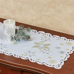 Snowflake Shimmer Table Runner White 15 x 36