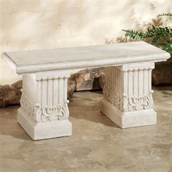 Pompeius Column Garden Bench Ivory