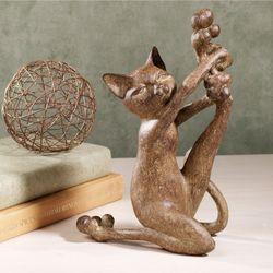 Sassy Cat Table Sculpture Bronze