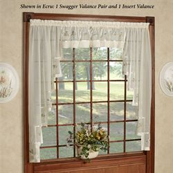 Mini Floral Sheer Long Swagger Valance Pair 80 x 63