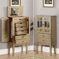 Jacelyn Jewelry Armoire Champagne Gold
