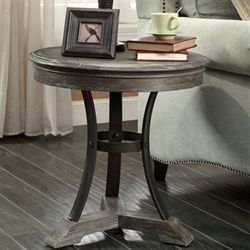 Weldon Round Accent Table Aged Brown