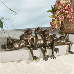 Frogs Relaxing Shelf Sitter Weathered Bronze