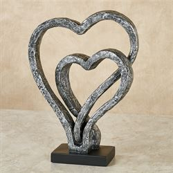 Our Hearts As One Love Antique Silver Table Sculpture