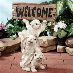 Bunnies Welcome Sculpture White