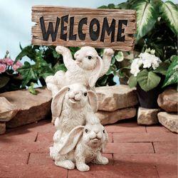Bunnies Welcome Sculpture White
