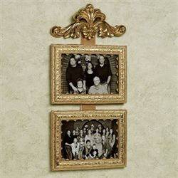 Fleur Double Photo Frame Antique Gold