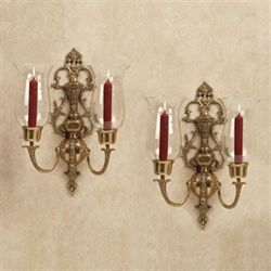 Acacia Wall Sconce Pair Antique Brass Pair