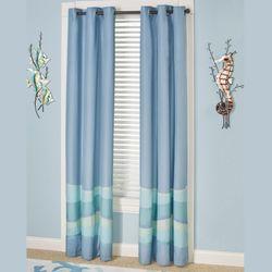 Ocean Tides Grommet Curtain Pair Cerulean Blue 84 X