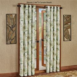Paradise Leaf Grommet Curtain Panel Parchment