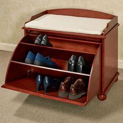 Aubrie Wooden Shoe Storage Bench Classic Cherry