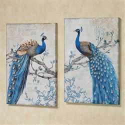 Magnificent Peacock Canvas Wall Art Blue Set of Two