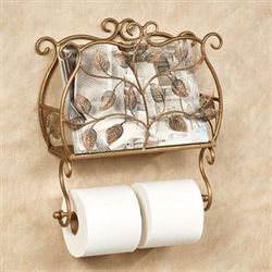 Eden Toilet Paper Holder with Magazine Rack Champagne Bronze