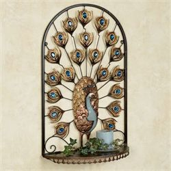 Royal Peacock Wall Shelf Multi Jewel