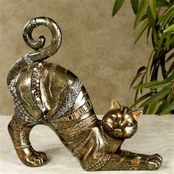 Fabulous Feline Cat Sculpture Multi Metallic