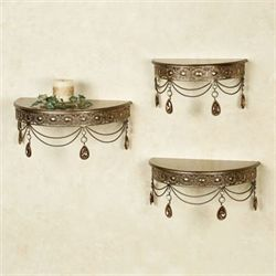 Brigette Wall Shelves Champagne Bronze Set of Three