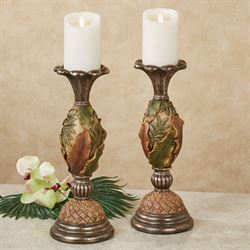 Tahitian Sunrise Candleholders Multi Earth Pair