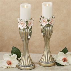Magnolia Elegance Candleholders Champagne Gold Pair