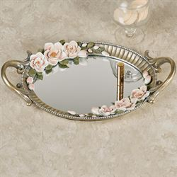 Magnolia Elegance Mirrored Vanity Tray Champagne Gold