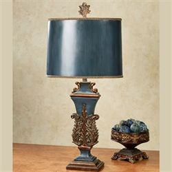Traditional table lamps touch of class triumph steel blue table lamp with led bulb aloadofball Images