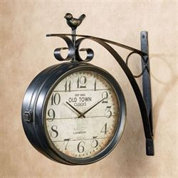 Bird Perch Wall Clock Black