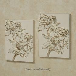 Magnolia Blossoms Wall Plaque Art Ivory/Gold