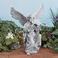 Angel Hymn Violin Sculpture Aged Stone