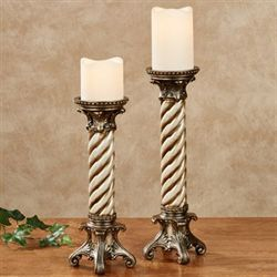 Monacio Candleholders Antique Silver Set of Two