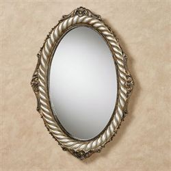 Monacio Oval Wall Mirror Antique Silver