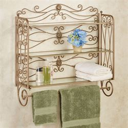 Kadalynn Wall Shelf with Towel Bar Satin Gold