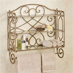 Abbianna Wall Shelf with Towel Bar Antique Gold