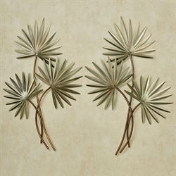 Fan Palm Wall Sculptures Green Set of Two