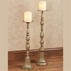 Coralynne Floor Candleholders Satin Gold Set of Two