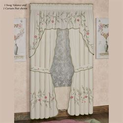 Posy Curtain Pair Natural 84 x 84