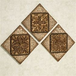 Abrielle Dynasty Wall Plaque Set Antique Gold Set of Three