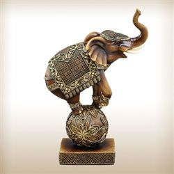 Elephant Performance Act Sculpture Brown