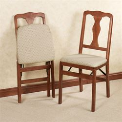 Queen Anne Folding Chair Pair  Pair