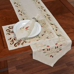 Scrolling Leaves Table Runner Oatmeal 14 x 72