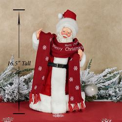 Bundled Up Clothtique Santa Figurine Red