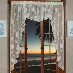 Seashells Lace Long Swag Valance Pair 56 x 63