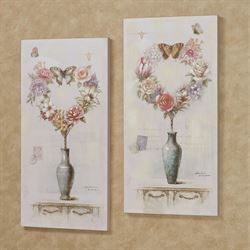 Floral Heart Canvas Wall Art Multi Pastel Set of Two
