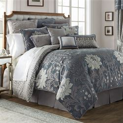 Ansonia Floral Comforter Set Blue/Gray