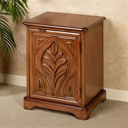 Carved Palm Side Storage Cabinet Pecan