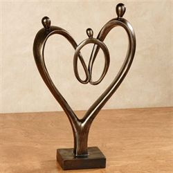 Heartfelt Family Table Sculpture Bronze