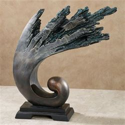 Breaking Waves Table Sculpture Dark Gray