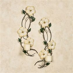 Magnolia Wall Sconces Ivory Set of Two