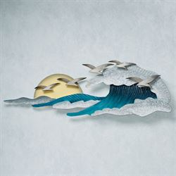 Seagulls in Waves Wall Art Blue