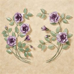 Les Fleurs Rose Bouquet Wall Art Mulberry Set of Two